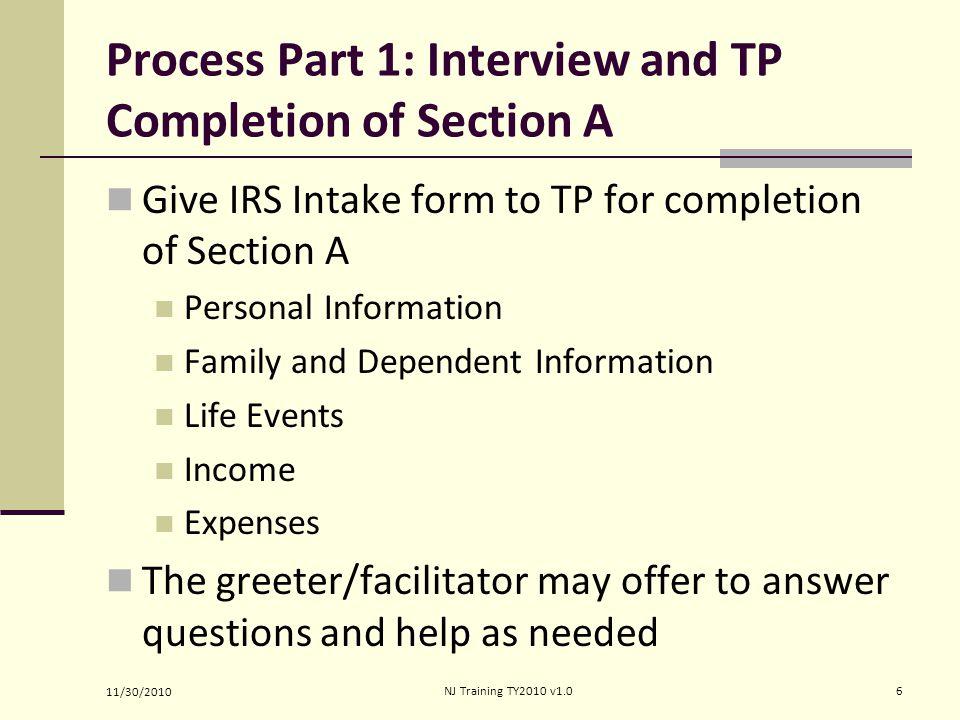 Sec A cont'd 11/30/2010 7NJ Training TY2010 v1.0