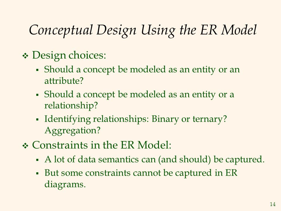 14 Conceptual Design Using the ER Model  Design choices:  Should a concept be modeled as an entity or an attribute?  Should a concept be modeled as