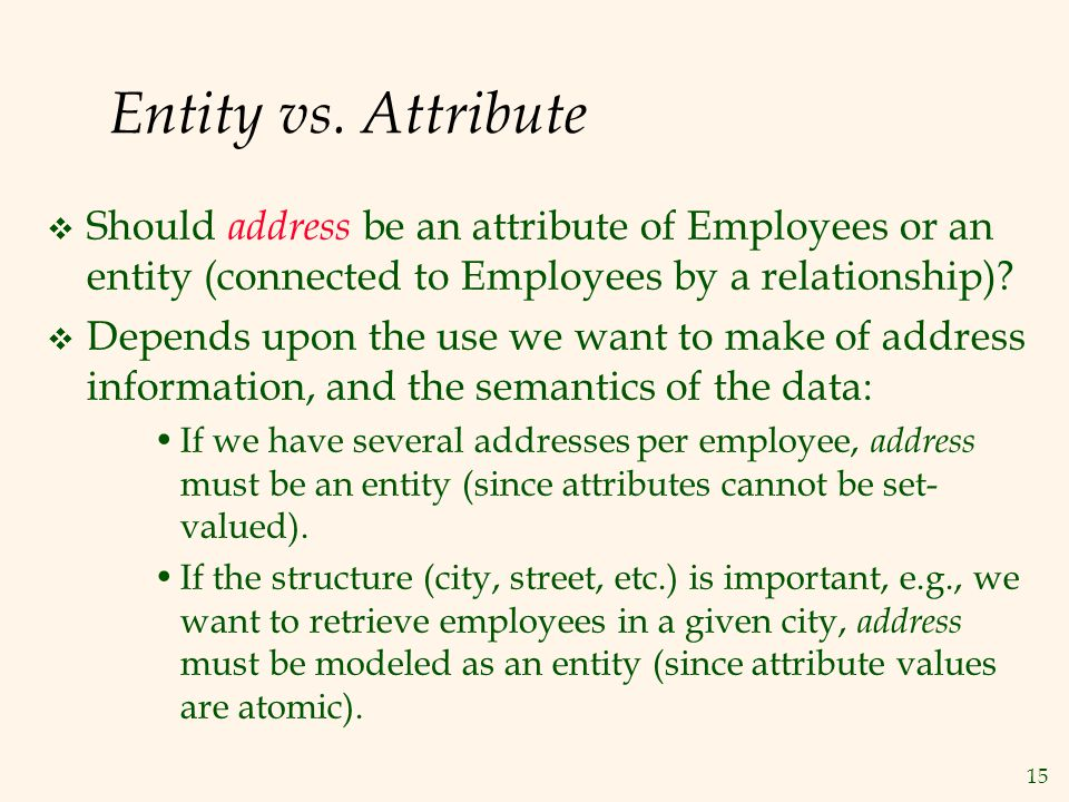 15 Entity vs. Attribute  Should address be an attribute of Employees or an entity (connected to Employees by a relationship)?  Depends upon the use