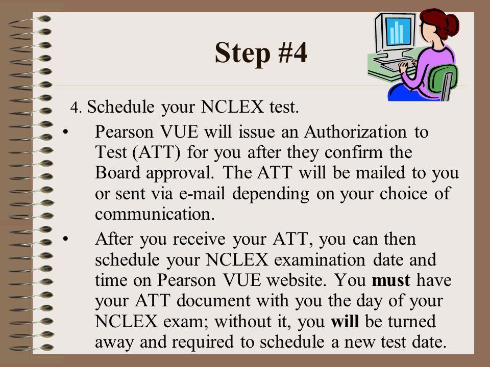 Step #4 4.Schedule your NCLEX test.