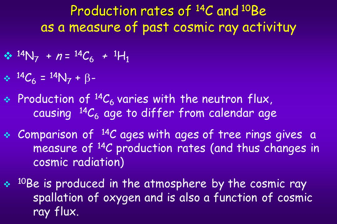 Production rates of Production rates of 14 C and 10 Be as a measure of past cosmic ray activituy   14 N 7 + n = 14 C 6 + 1 H 1   14 C 6 = 14 N 7 +  -   Production of 14 C 6 varies with the neutron flux, causing 14 C 6 age to differ from calendar age   Comparison of 14 C ages with ages of tree rings gives a measure of 14 C production rates (and thus changes in cosmic radiation)   10 Be is produced in the atmosphere by the cosmic ray spallation of oxygen and is also a function of cosmic ray flux.