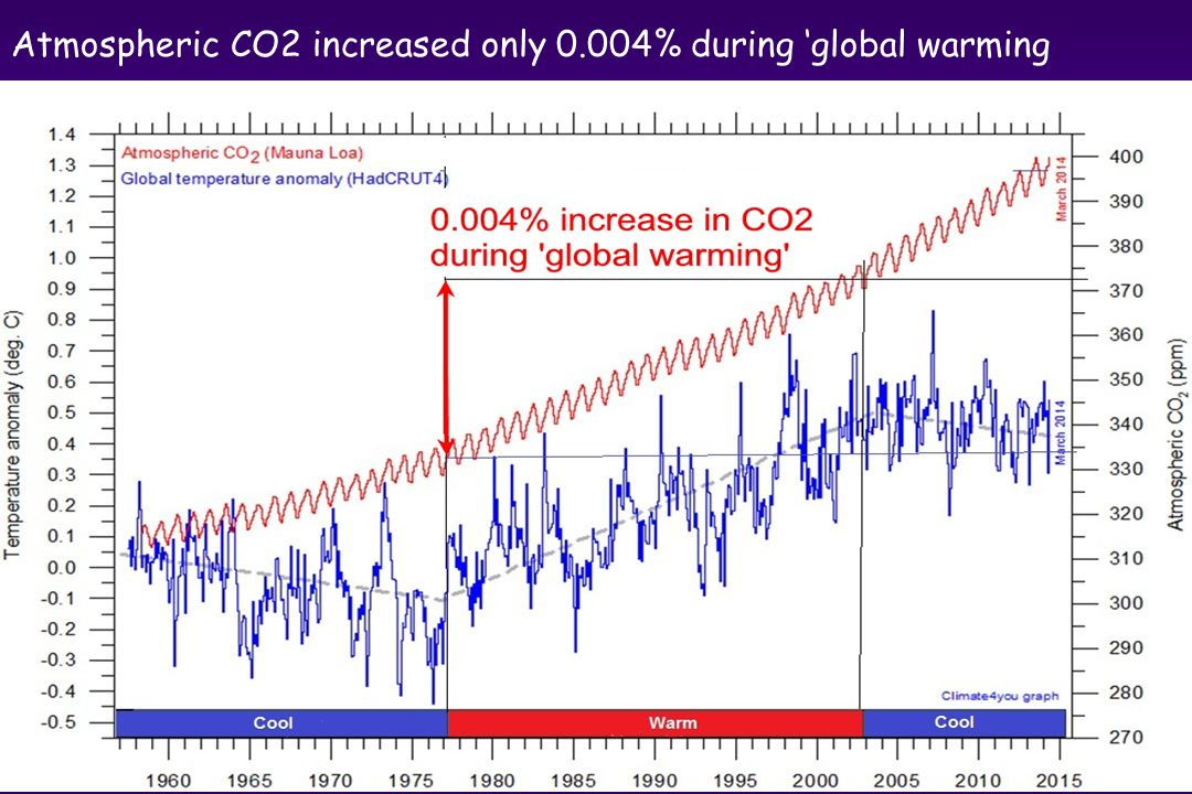 Atmospheric CO2 increased only 0.004% during 'global warming