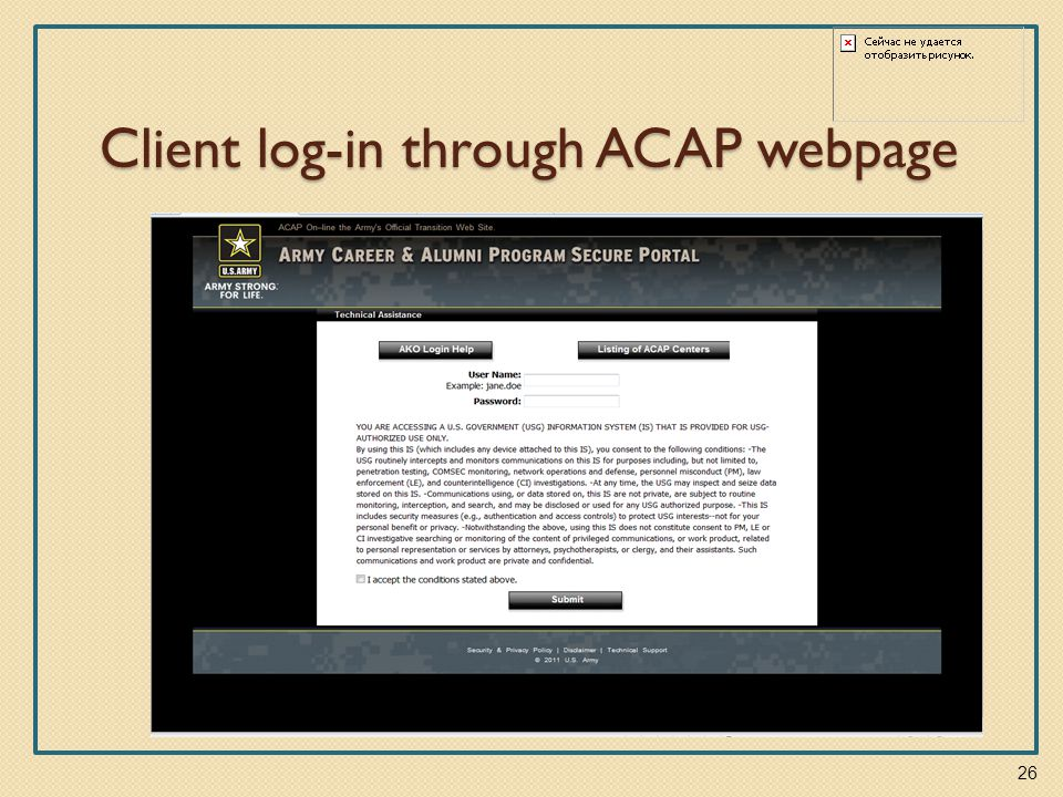 Client log-in through ACAP webpage 26