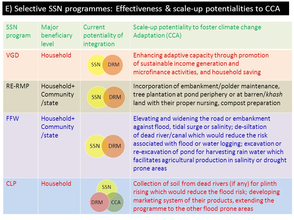 SSN program Major beneficiary level Current potentiality of integration Scale-up potentiality to foster climate change Adaptation (CCA) VGDHouseholdEn