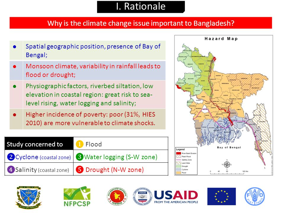 ❶ To quantify the number of rural poor whose livelihoods is threatened by climate change and describe the type of climate risks facing them; ❷ To identify successful examples of coordination/integration of disaster risk management (DRM), social safety nets (SSN) and climate change adaptation (CCA)/rural development in Bangladesh and abroad; ❸ To draw implications for the design and implementation of the safety nets in Bangladesh and for the coordination among ministries such as the MoFood, MoDMR, MoA, MoEF, MoFL, MoWR, and MoLGRDC.