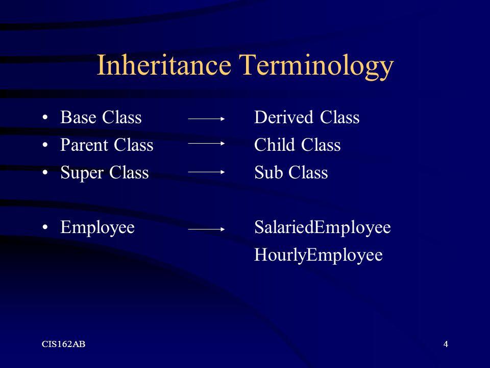 CIS162AB4 Inheritance Terminology Base Class Parent Class Super Class Employee Derived Class Child Class Sub Class SalariedEmployee HourlyEmployee