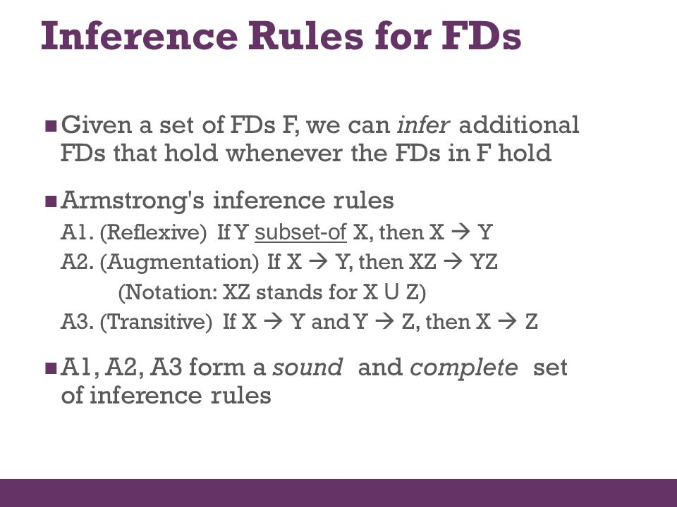 Inference Rules for FDs Given a set of FDs F, we can infer additional FDs that hold whenever the FDs in F hold Armstrong's inference rules A1. (Reflex