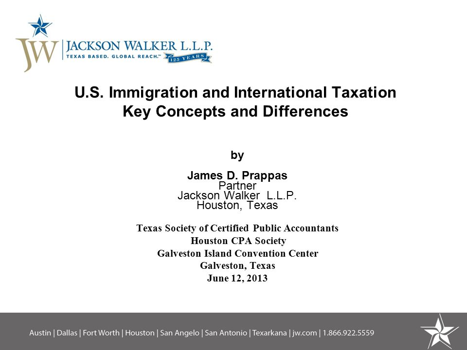 U.S. Immigration and International Taxation Key Concepts and Differences by James D.