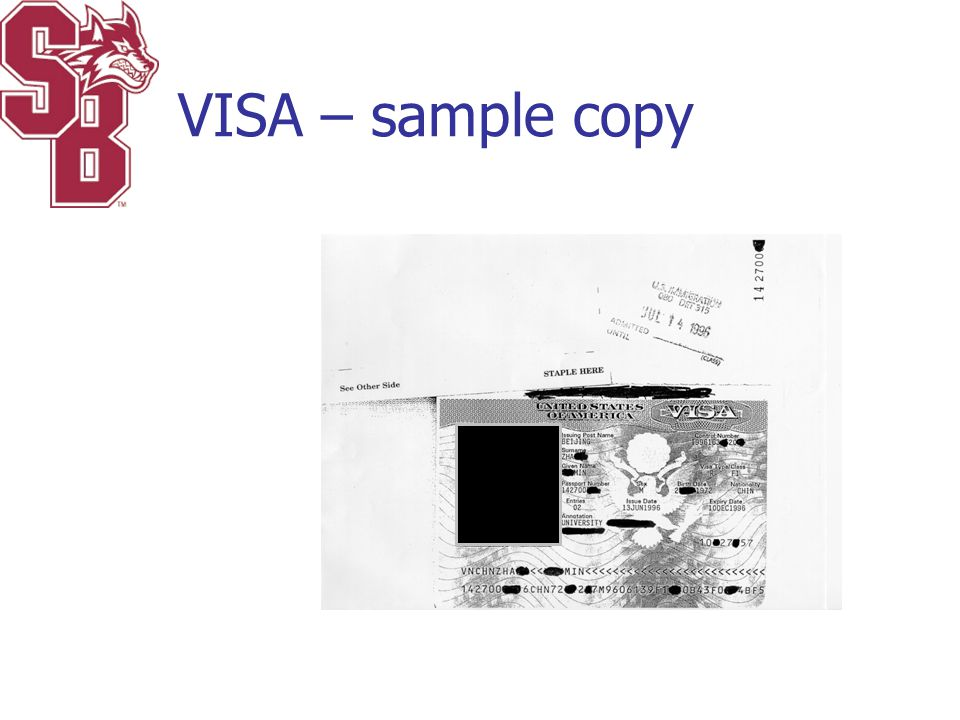 VISA – sample copy