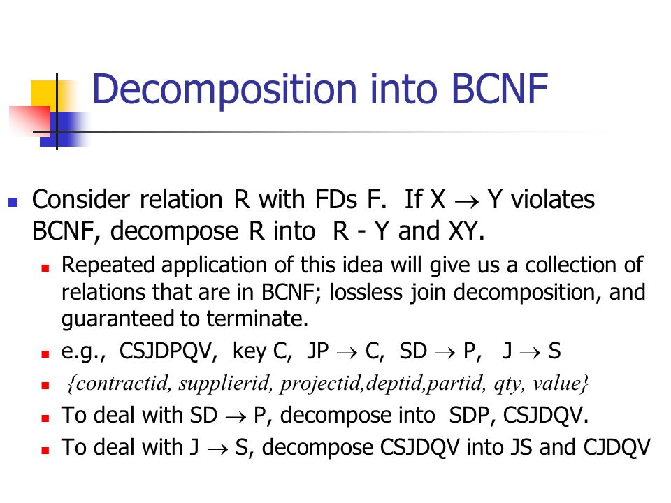 Decomposition into BCNF Consider relation R with FDs F. If X  Y violates BCNF, decompose R into R - Y and XY. Repeated application of this idea will