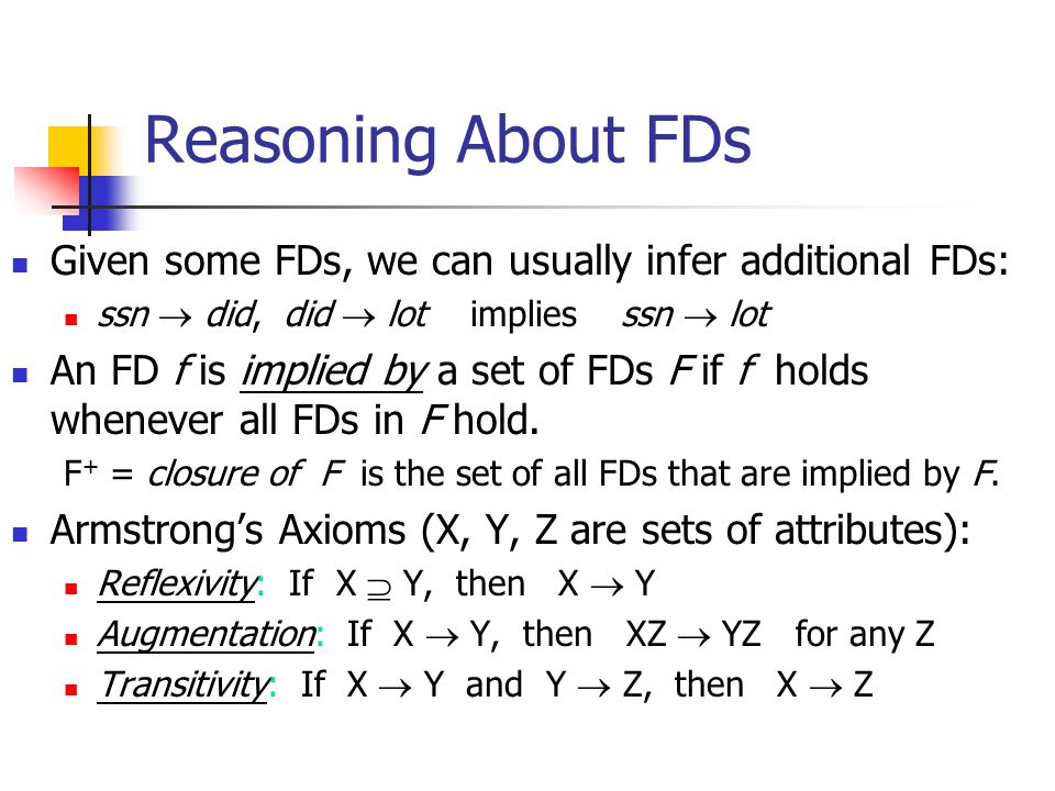 Reasoning About FDs Given some FDs, we can usually infer additional FDs: ssn  did, did  lot implies ssn  lot An FD f is implied by a set of FDs F i