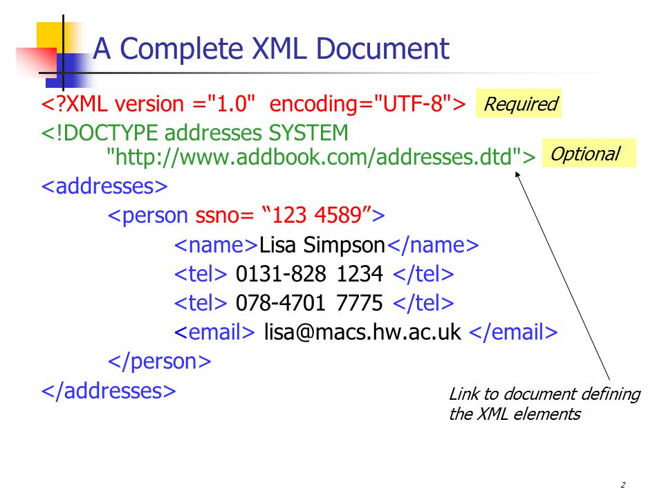 3 Defining the structure of an XML file We can check if an XML file is well-formed by looking at it, maybe By loading it into a browser If well-formed, it will be displayed However, how can we check that the well-formed file contains the correct elements in the correct quantities.