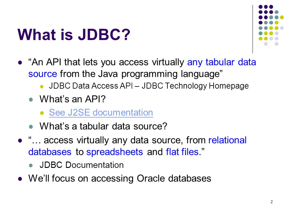 2 What is JDBC.