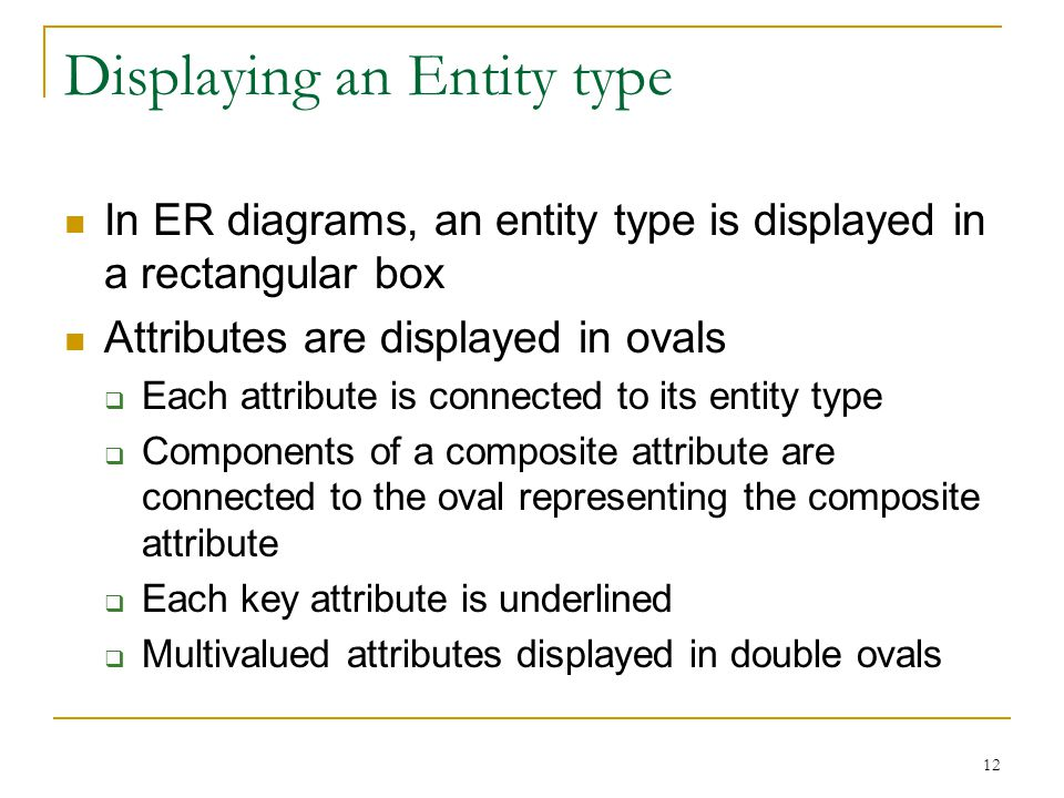 12 Displaying an Entity type In ER diagrams, an entity type is displayed in a rectangular box Attributes are displayed in ovals  Each attribute is connected to its entity type  Components of a composite attribute are connected to the oval representing the composite attribute  Each key attribute is underlined  Multivalued attributes displayed in double ovals