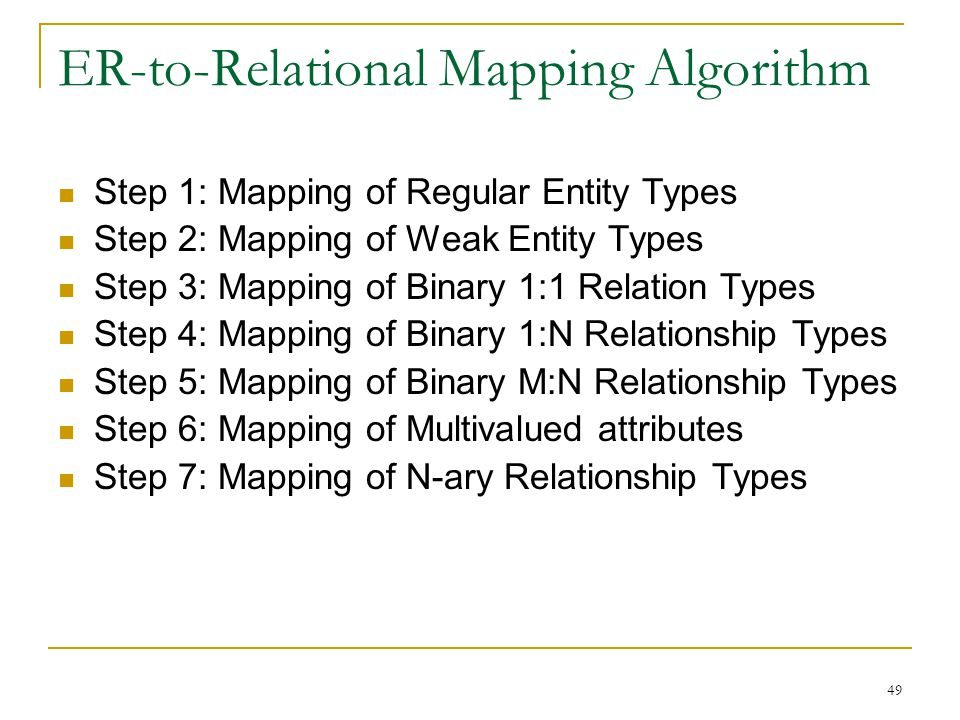 49 ER-to-Relational Mapping Algorithm Step 1: Mapping of Regular Entity Types Step 2: Mapping of Weak Entity Types Step 3: Mapping of Binary 1:1 Relation Types Step 4: Mapping of Binary 1:N Relationship Types Step 5: Mapping of Binary M:N Relationship Types Step 6: Mapping of Multivalued attributes Step 7: Mapping of N-ary Relationship Types