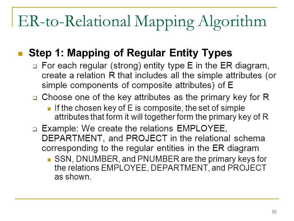 50 ER-to-Relational Mapping Algorithm Step 1: Mapping of Regular Entity Types  For each regular (strong) entity type E in the ER diagram, create a relation R that includes all the simple attributes (or simple components of composite attributes) of E  Choose one of the key attributes as the primary key for R If the chosen key of E is composite, the set of simple attributes that form it will together form the primary key of R  Example: We create the relations EMPLOYEE, DEPARTMENT, and PROJECT in the relational schema corresponding to the regular entities in the ER diagram SSN, DNUMBER, and PNUMBER are the primary keys for the relations EMPLOYEE, DEPARTMENT, and PROJECT as shown.