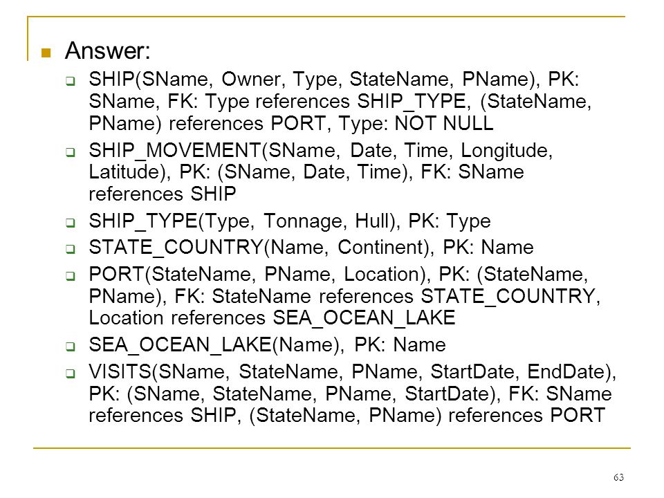 63 Answer:  SHIP(SName, Owner, Type, StateName, PName), PK: SName, FK: Type references SHIP_TYPE, (StateName, PName) references PORT, Type: NOT NULL  SHIP_MOVEMENT(SName, Date, Time, Longitude, Latitude), PK: (SName, Date, Time), FK: SName references SHIP  SHIP_TYPE(Type, Tonnage, Hull), PK: Type  STATE_COUNTRY(Name, Continent), PK: Name  PORT(StateName, PName, Location), PK: (StateName, PName), FK: StateName references STATE_COUNTRY, Location references SEA_OCEAN_LAKE  SEA_OCEAN_LAKE(Name), PK: Name  VISITS(SName, StateName, PName, StartDate, EndDate), PK: (SName, StateName, PName, StartDate), FK: SName references SHIP, (StateName, PName) references PORT