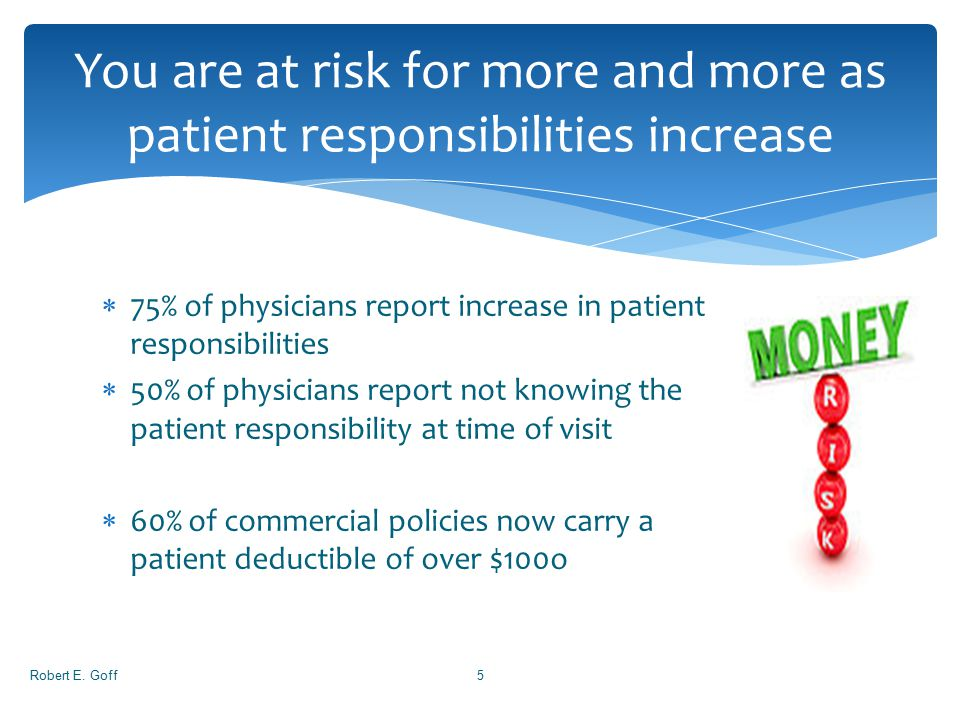  75% of physicians report increase in patient responsibilities  50% of physicians report not knowing the patient responsibility at time of visit  6