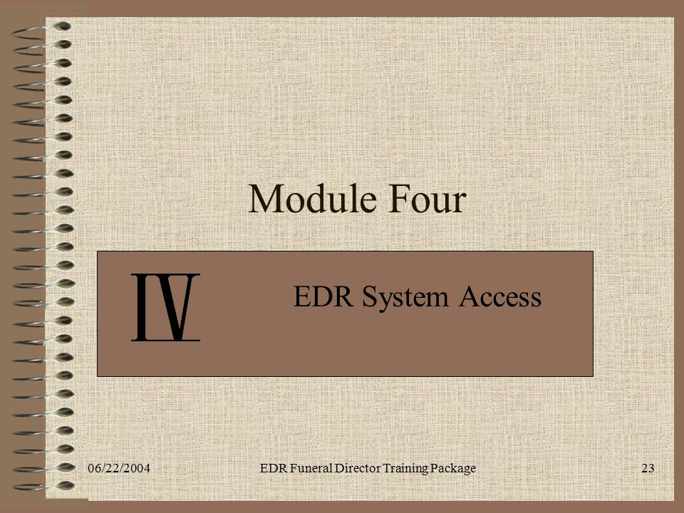 06/22/2004EDR Funeral Director Training Package23 Module Four EDR System Access