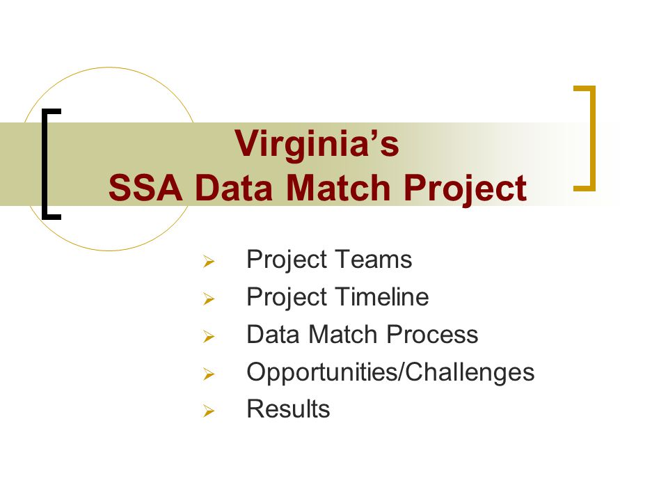 Virginia's SSA Data Match Project  Project Teams  Project Timeline  Data Match Process  Opportunities/Challenges  Results