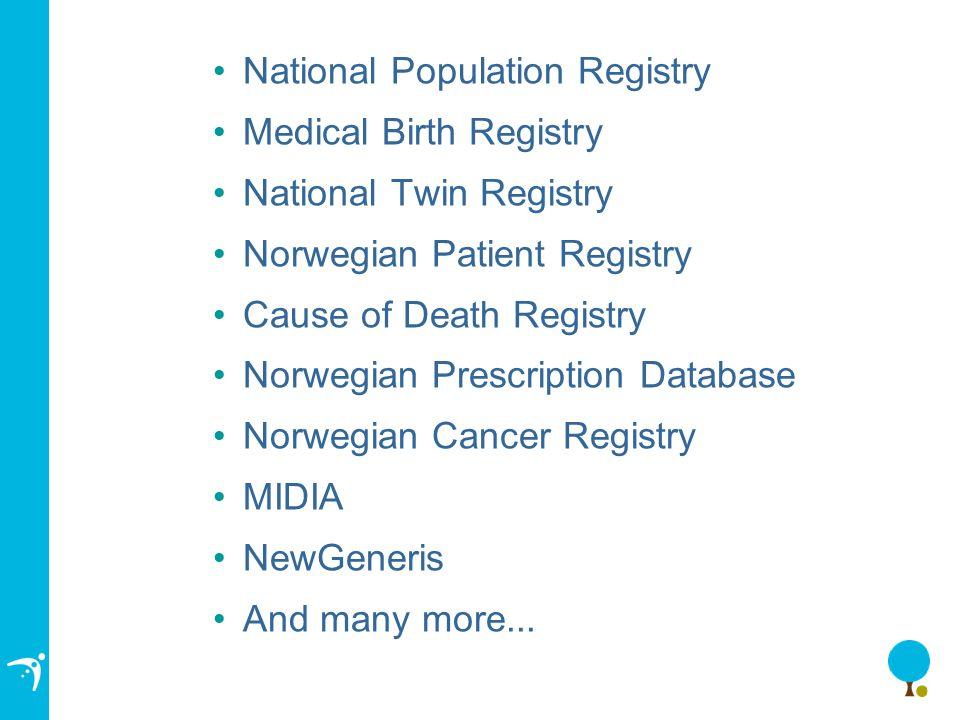 National Population Registry Medical Birth Registry National Twin Registry Norwegian Patient Registry Cause of Death Registry Norwegian Prescription Database Norwegian Cancer Registry MIDIA NewGeneris And many more...