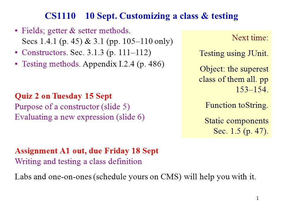 1 CS1110 10 Sept.