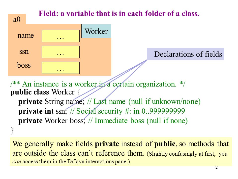 2 Field: a variable that is in each folder of a class.