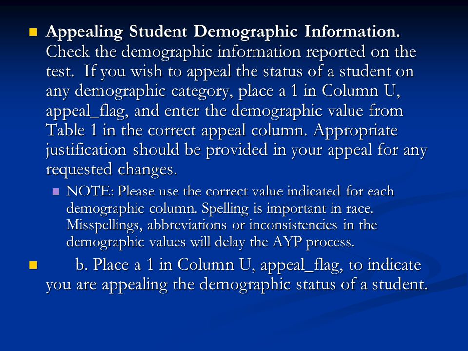 Appealing Student Demographic Information. Check the demographic information reported on the test. If you wish to appeal the status of a student on an