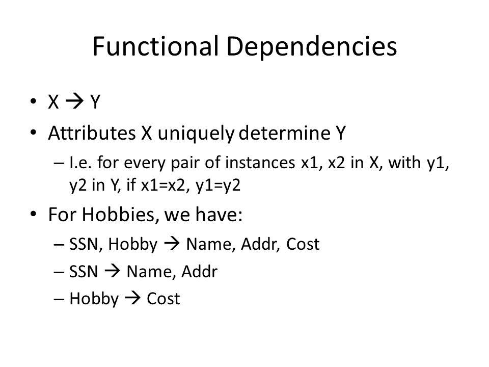 Functional Dependencies X  Y Attributes X uniquely determine Y – I.e.
