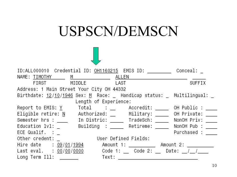 10 USPSCN/DEMSCN