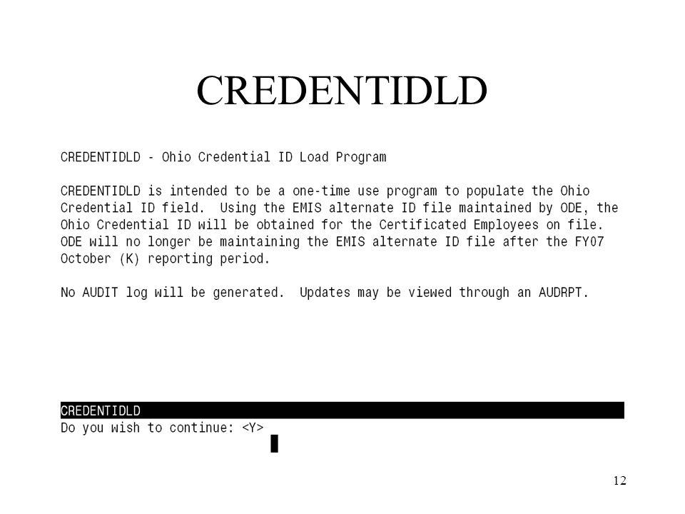 12 CREDENTIDLD