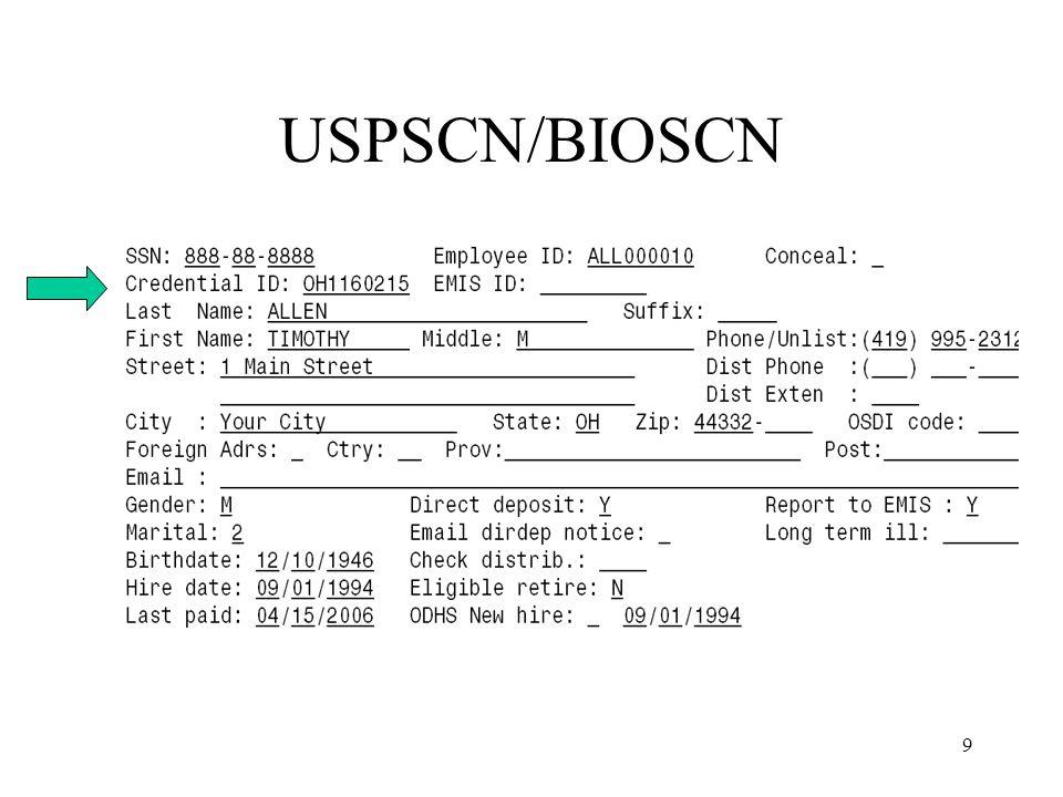 9 USPSCN/BIOSCN