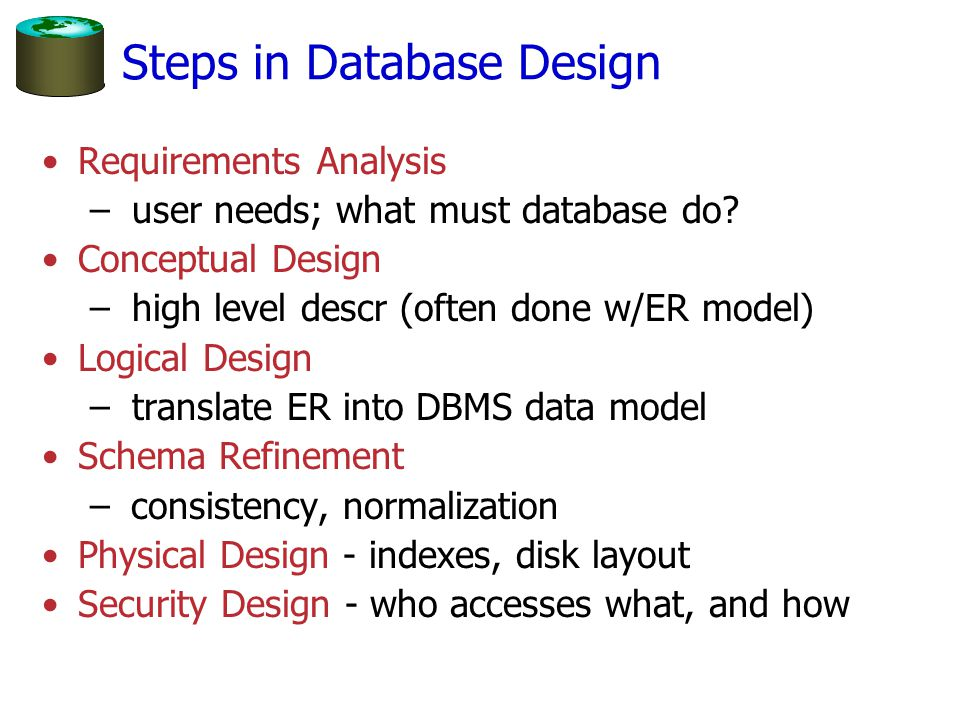 Steps in Database Design Requirements Analysis – user needs; what must database do? Conceptual Design – high level descr (often done w/ER model) Logic