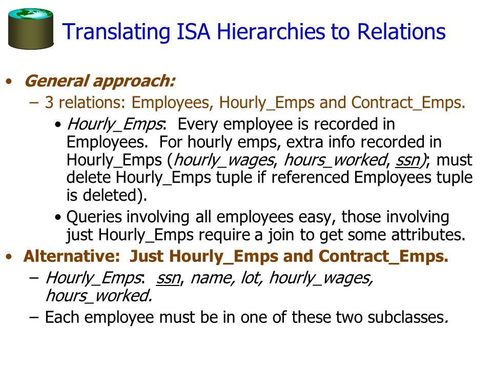 Translating ISA Hierarchies to Relations General approach: –3 relations: Employees, Hourly_Emps and Contract_Emps. Hourly_Emps: Every employee is reco