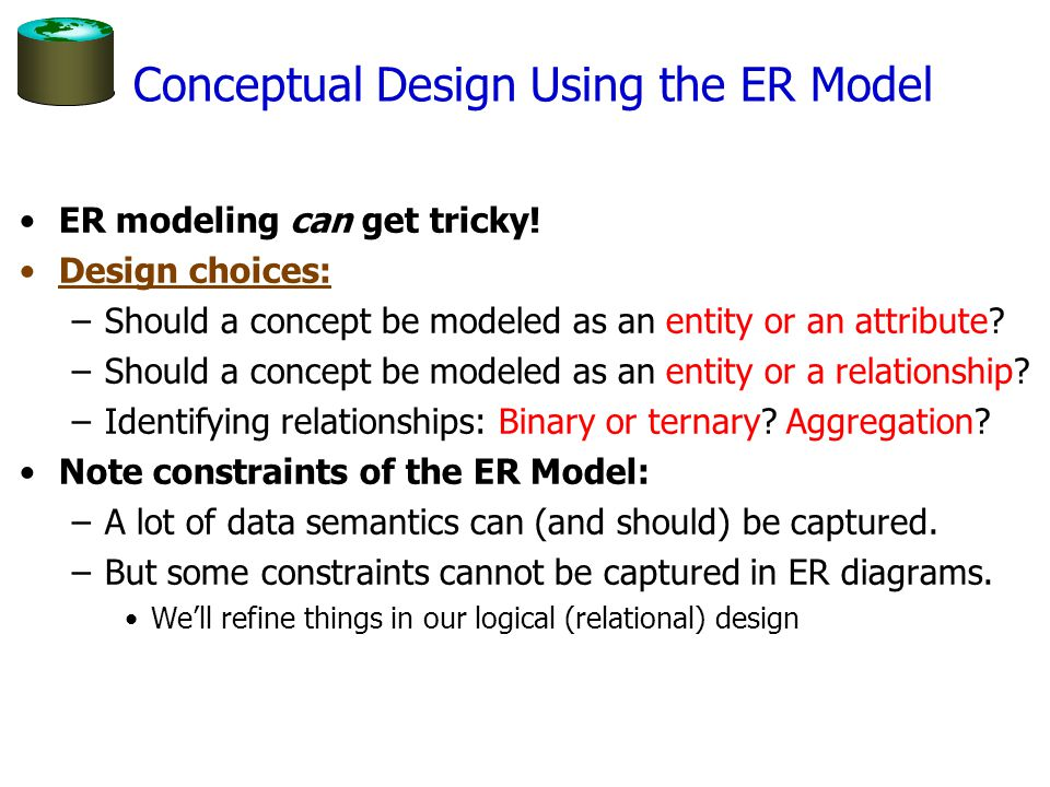 Conceptual Design Using the ER Model ER modeling can get tricky! Design choices: –Should a concept be modeled as an entity or an attribute? –Should a
