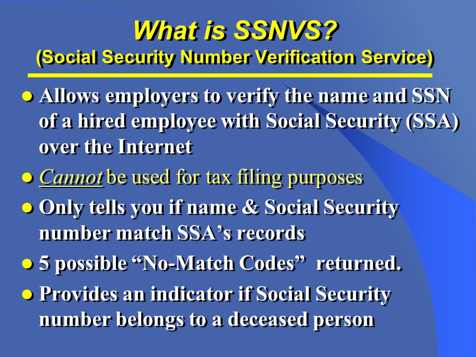 What is SSNVS.