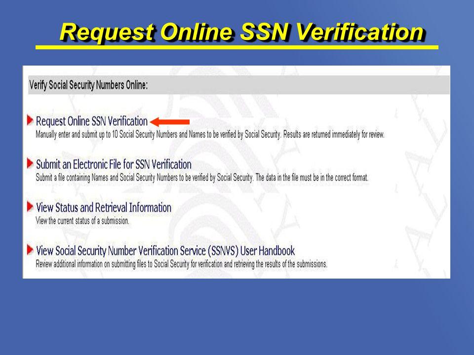 Request Online SSN Verification