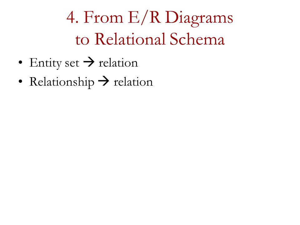 4. From E/R Diagrams to Relational Schema Entity set  relation Relationship  relation