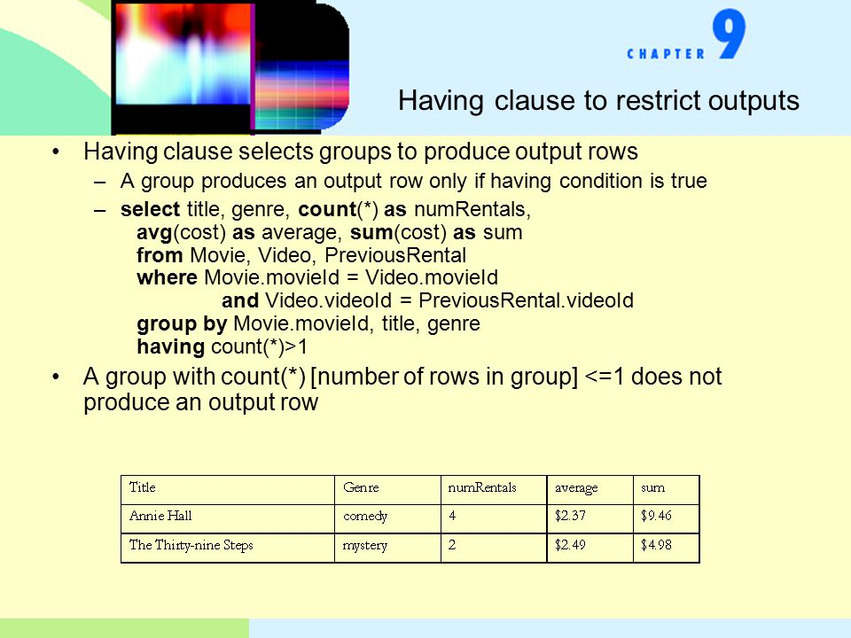 Having clause to restrict outputs Having clause selects groups to produce output rows –A group produces an output row only if having condition is true –select title, genre, count(*) as numRentals, avg(cost) as average, sum(cost) as sum from Movie, Video, PreviousRental where Movie.movieId = Video.movieId and Video.videoId = PreviousRental.videoId group by Movie.movieId, title, genre having count(*)>1 A group with count(*) [number of rows in group] <=1 does not produce an output row