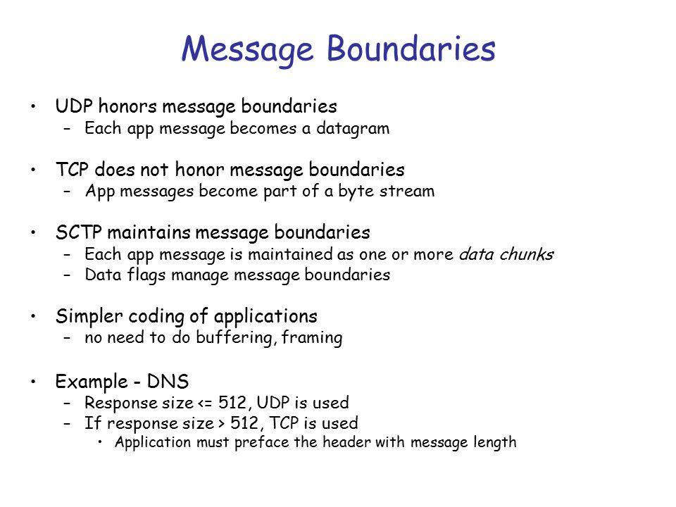 SCTP preserves message boundaries Web server Web client SCTP association Message 3 Message 2 Message 1 Message 2 Message 3 bytes 1 - 100 bytes 101 - 200 bytes 201 - 300 bytes 1 - 100 bytes 201 - 300 bytes 101 - 200