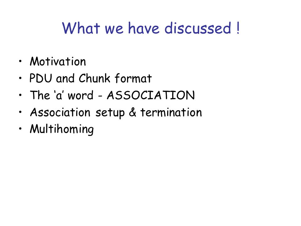 What we have discussed .