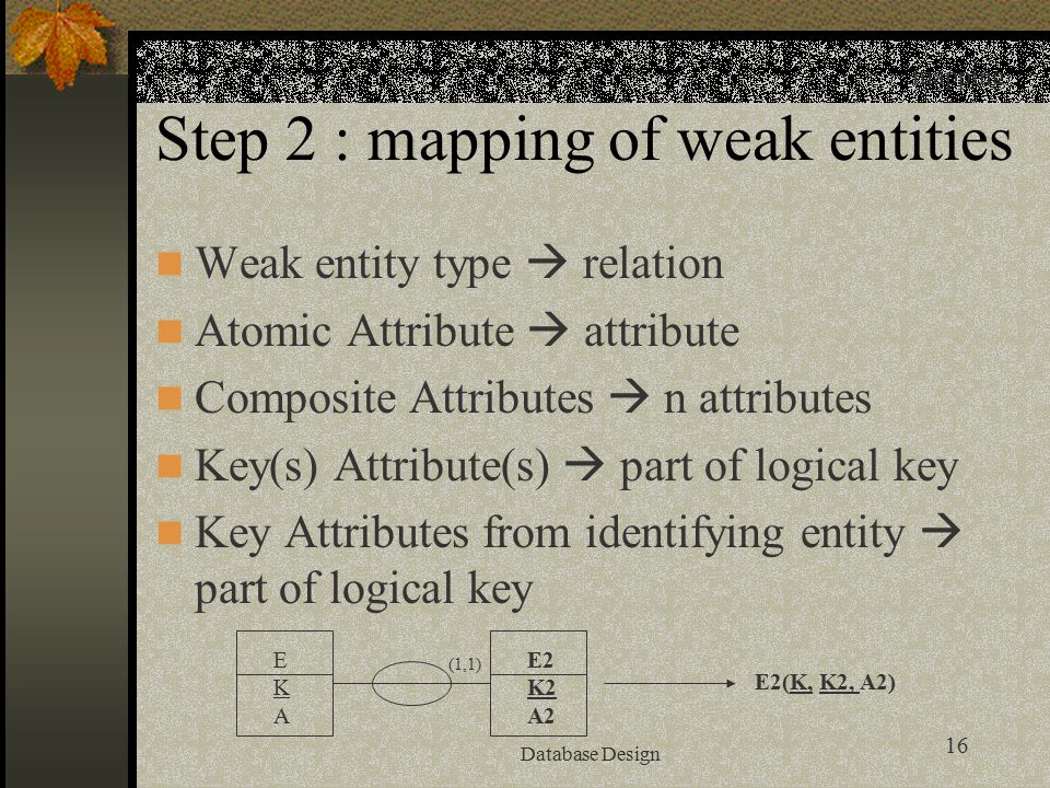 16 Database Design Step 2 : mapping of weak entities Weak entity type  relation Atomic Attribute  attribute Composite Attributes  n attributes Key(