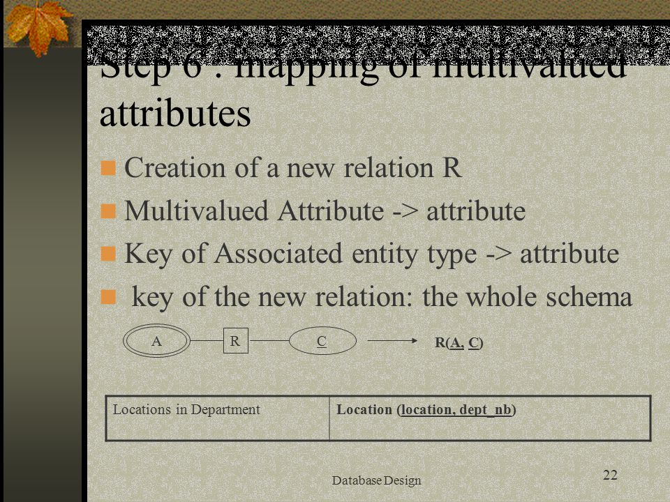 22 Database Design Step 6 : mapping of multivalued attributes Creation of a new relation R Multivalued Attribute -> attribute Key of Associated entity