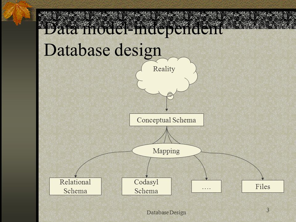 3 Database Design Data model-independent Database design Reality Conceptual Schema Relational Schema Codasyl Schema Files…. Mapping Introduction