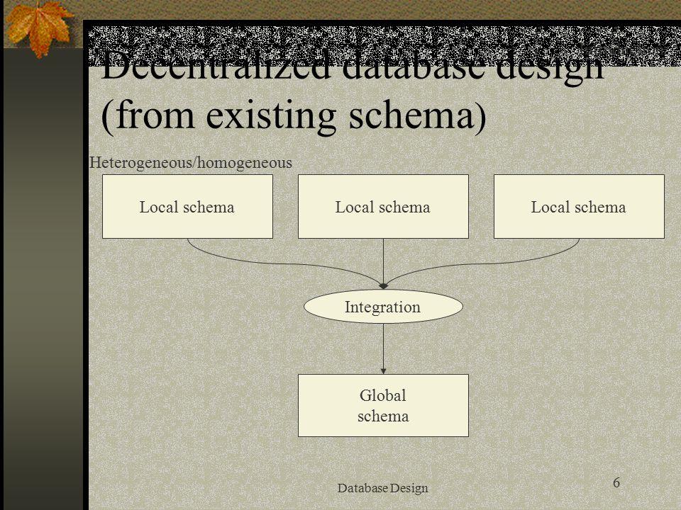 6 Database Design Decentralized database design (from existing schema ) Integration Global schema Local schema Heterogeneous/homogeneous Introduction