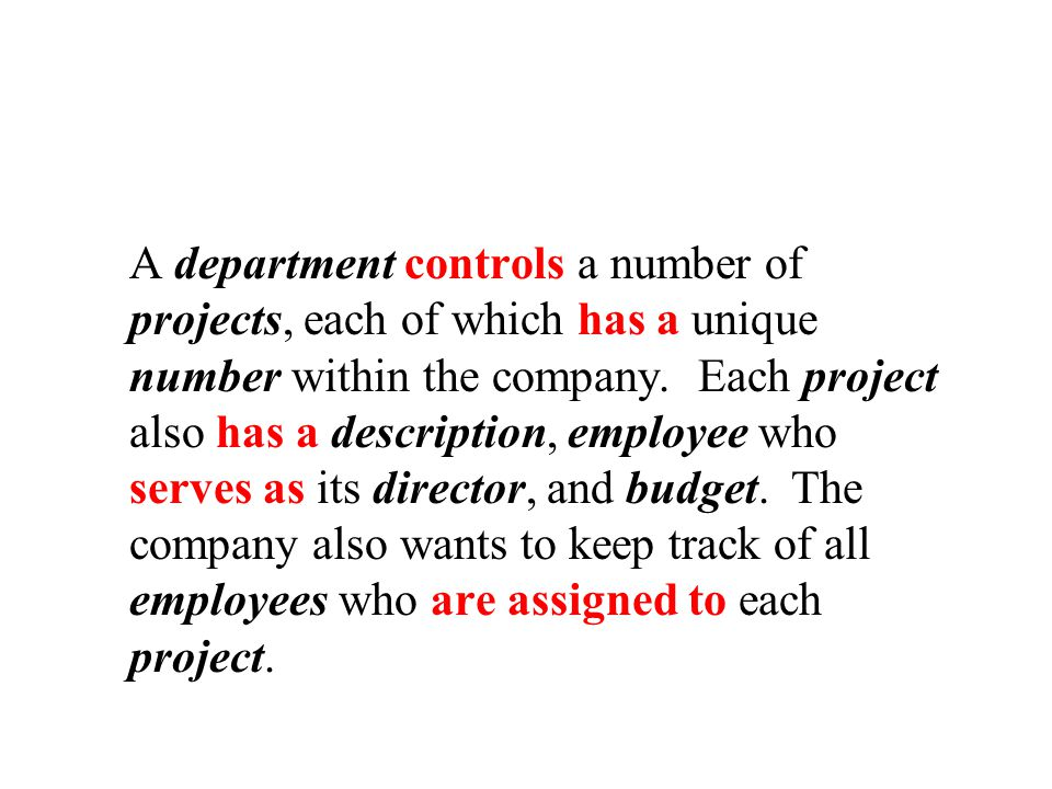 A department controls a number of projects, each of which has a unique number within the company.