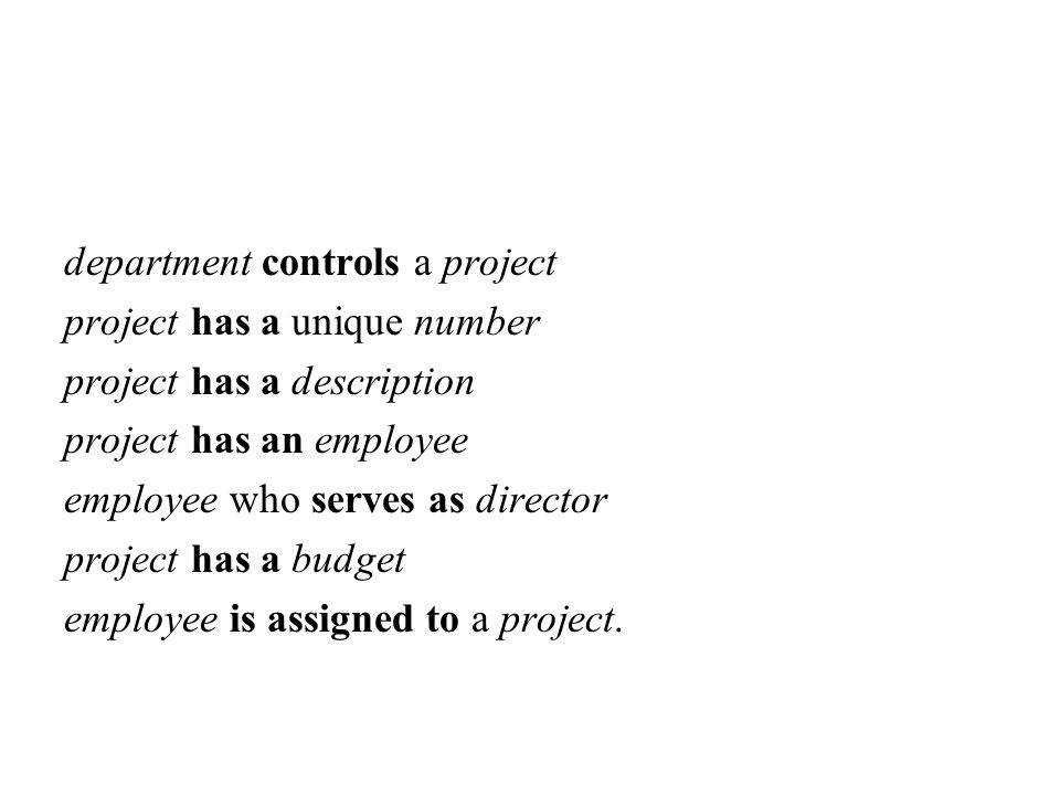 department controls a project project has a unique number project has a description project has an employee employee who serves as director project has a budget employee is assigned to a project.