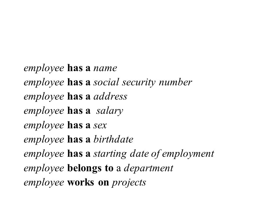 employee has a name employee has a social security number employee has a address employee has a salary employee has a sex employee has a birthdate employee has a starting date of employment employee belongs to a department employee works on projects
