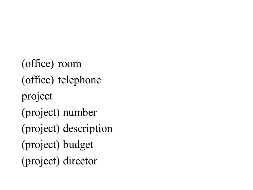 (office) room (office) telephone project (project) number (project) description (project) budget (project) director
