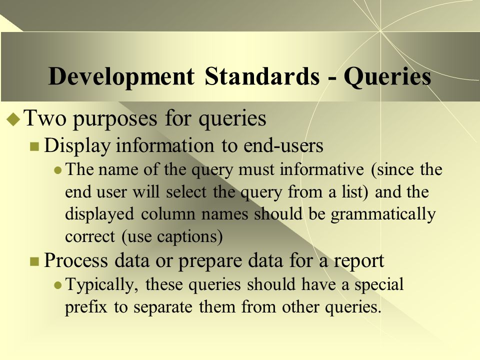 Development Standards - Queries  Two purposes for queries Display information to end-users The name of the query must informative (since the end user